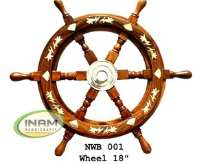 Nautical antique wooden designer ship steering wheel decorated with brass inlay work