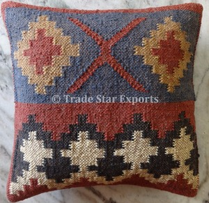 Indian rugs hand woven decorative pillow case covers wool jute fabric kilim cushion cover