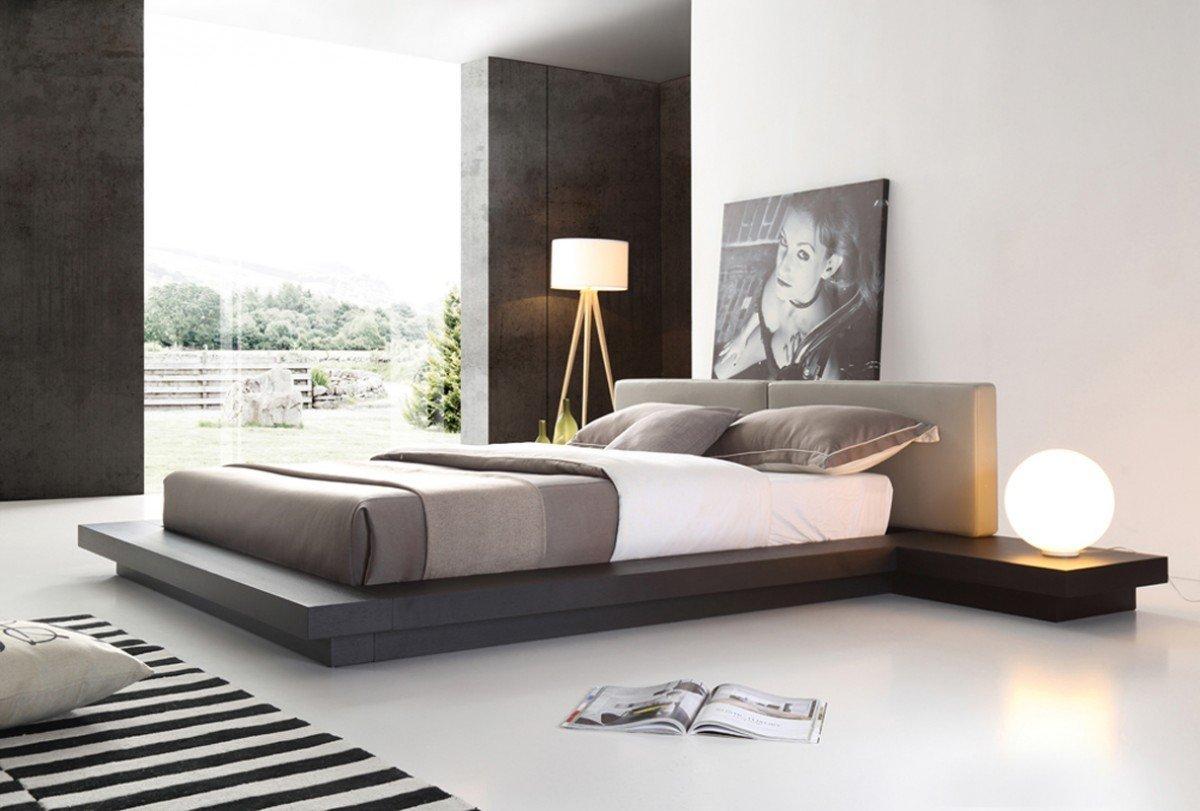 VIG Furniture Modrest Opal Collection Modern Wenge Veneer Finished Platform Queen Bed with Leatherette Upholstered Headboard Cushions, Grey & Brown