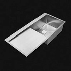 Professional handmade built in stainless Steel single bowl drain board sink for kitchen