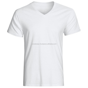 Men V-Neck Plain T-Shirt/Wholesale High Quality Cheap T-Shirt/ Custom V-Neck T-Shirt