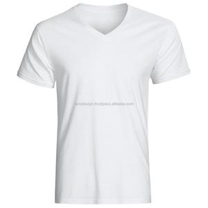 Men V-Neck Plain T-Shirt/Wholesale High Quality Cheap T-Shirt/ Custom V-Neck T-Shirt