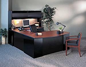 "Mayline U Shaped Desk W/Hutch Office Bow Front Desk 72""W X 39""D X 29 1/8""H, Credenza 72""W X 24""D X 29 1/8"", Hutch 72""W X 15""D X 36""H, Bridge 42""W X 24""D X 29 1/8""H - Crown Cherry/Black"