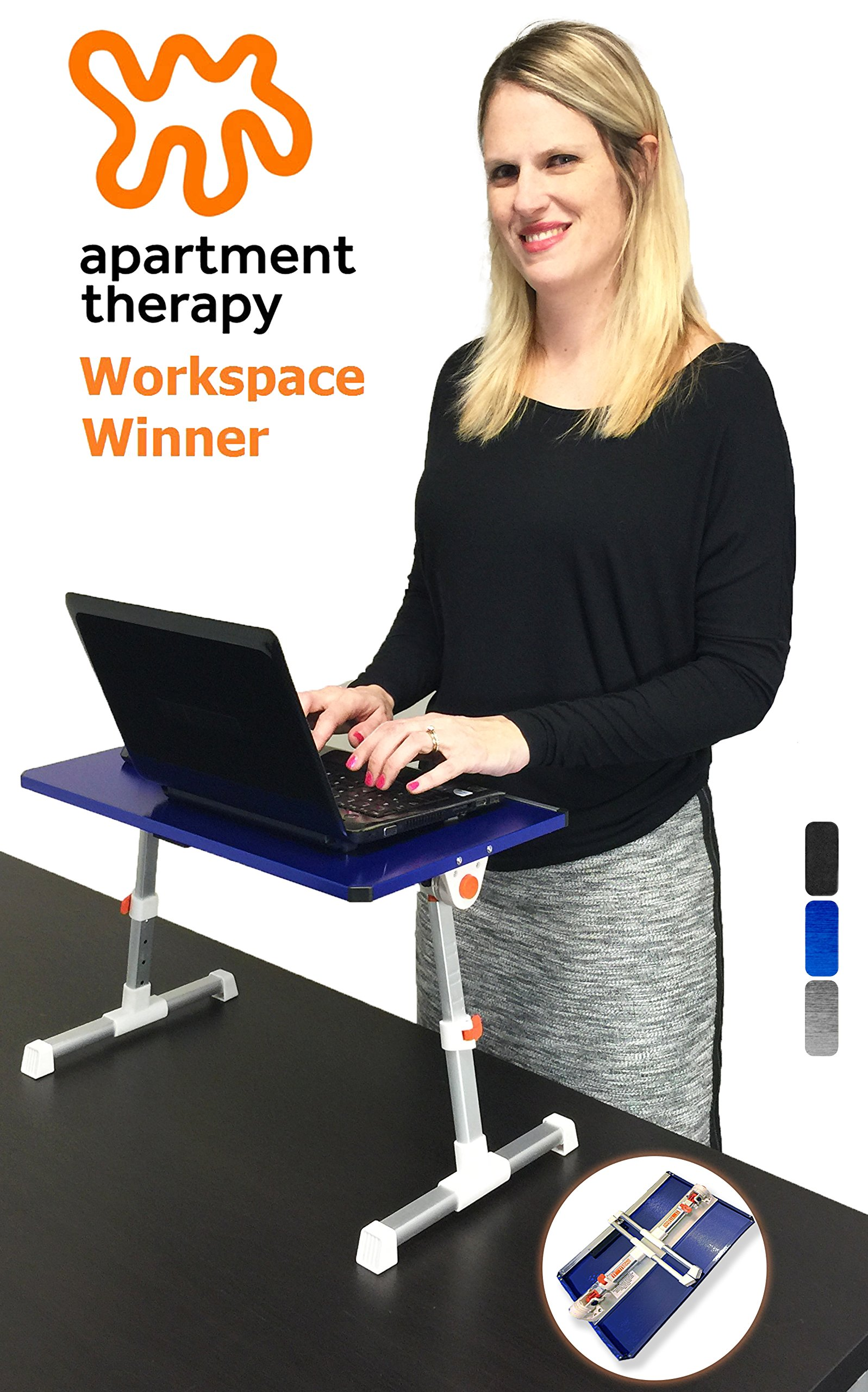 Stand Steady Traveler Folding Portable Standing Desk, Height Adjustable Laptop Bed Table, Adjustable Monitor Stand, or Children's Floor Table. Multi-functional. Apartment Therapy Award Winner! (Blue)