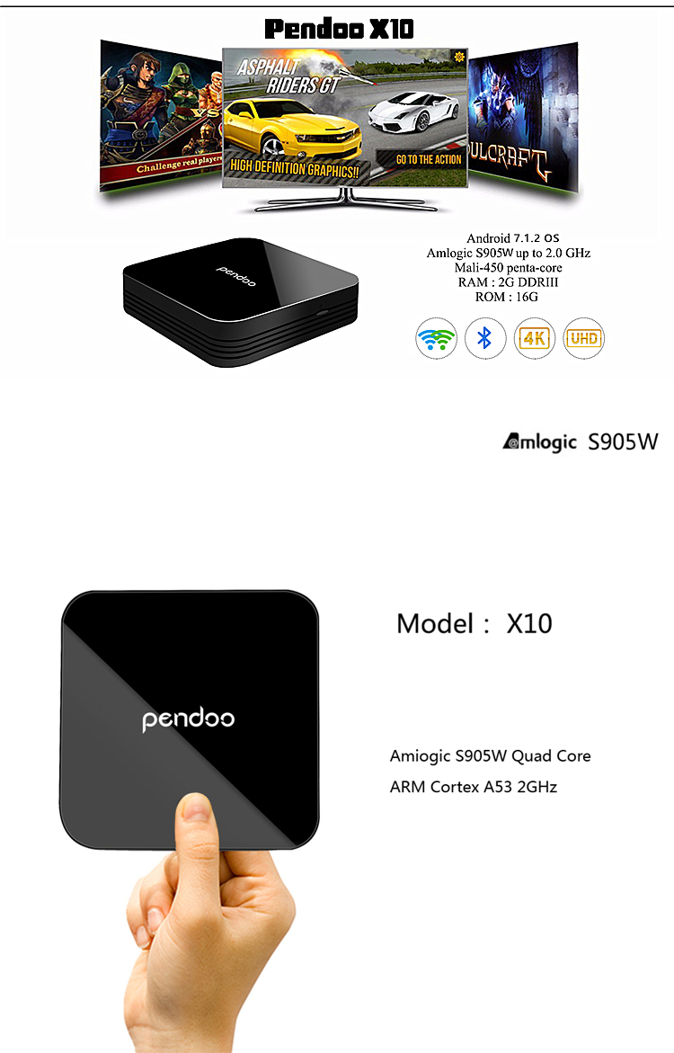 Professional Pendoo x10 S905W 2G 16G media player 4k android tv box with Android 7.0 arabic iptv box best android tv box