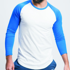 high quality 95% cotton 5% spandex custom designs man round collar curved hem two-color long sleeve t-shirt