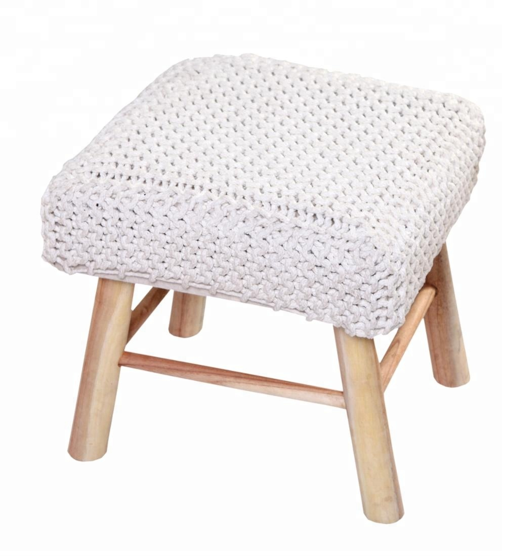 Astonishing Wholesale Modern Design Wooden Cotton Knitted Ottoman View Knitted Ottoman Wood Leg Ottoman Product Details From Shree Girnar Textiles On Frankydiablos Diy Chair Ideas Frankydiabloscom