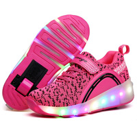 Oem service professional sports manufacturers sport shoes women Roller Shoes LED Dapple Pink
