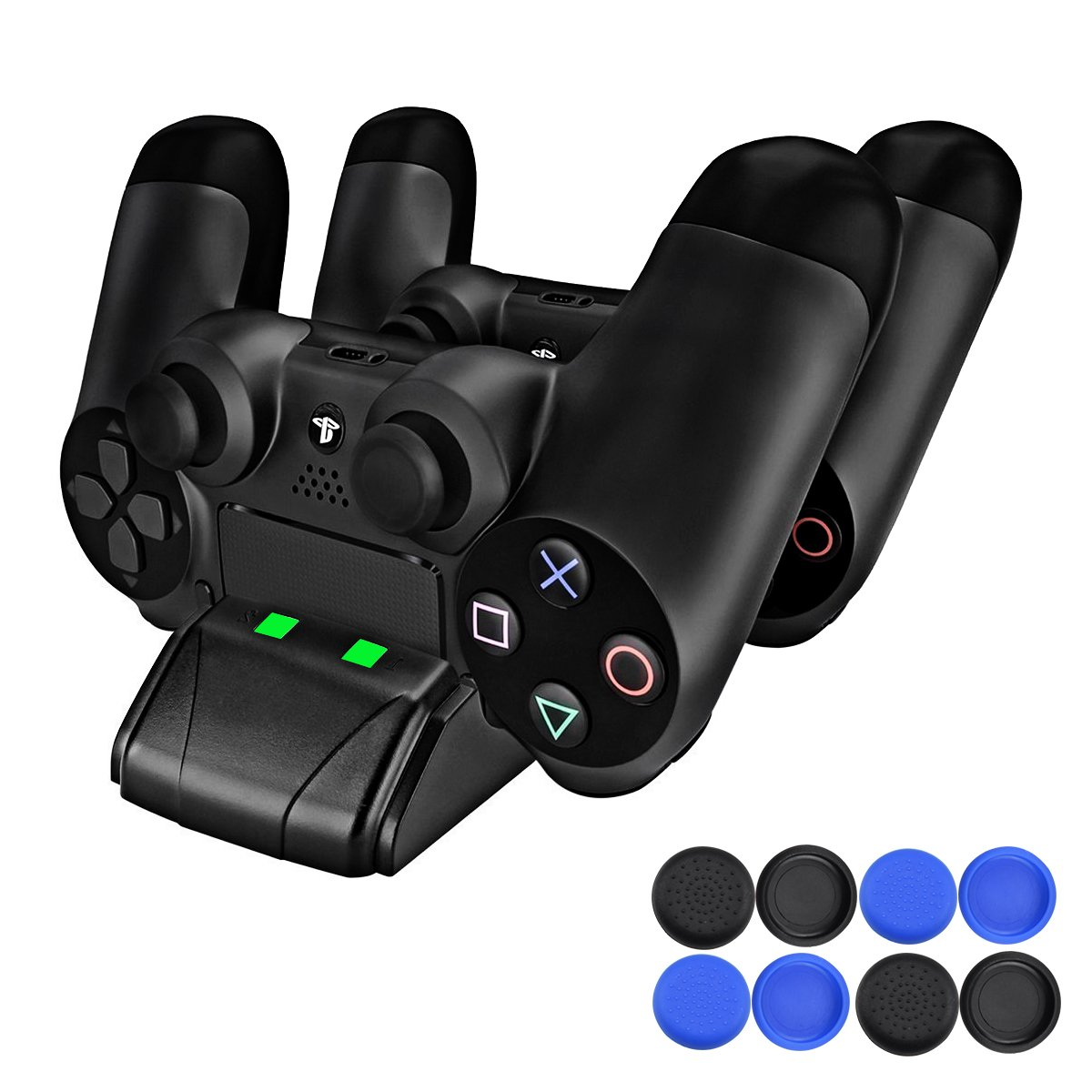 PECHAM PS4 Controller Charger, DualShock 4 Mini Charging Station Dock with LED Indicator - Additional: USB Cable, 8 Thumb Grips Accessories for Joysticks