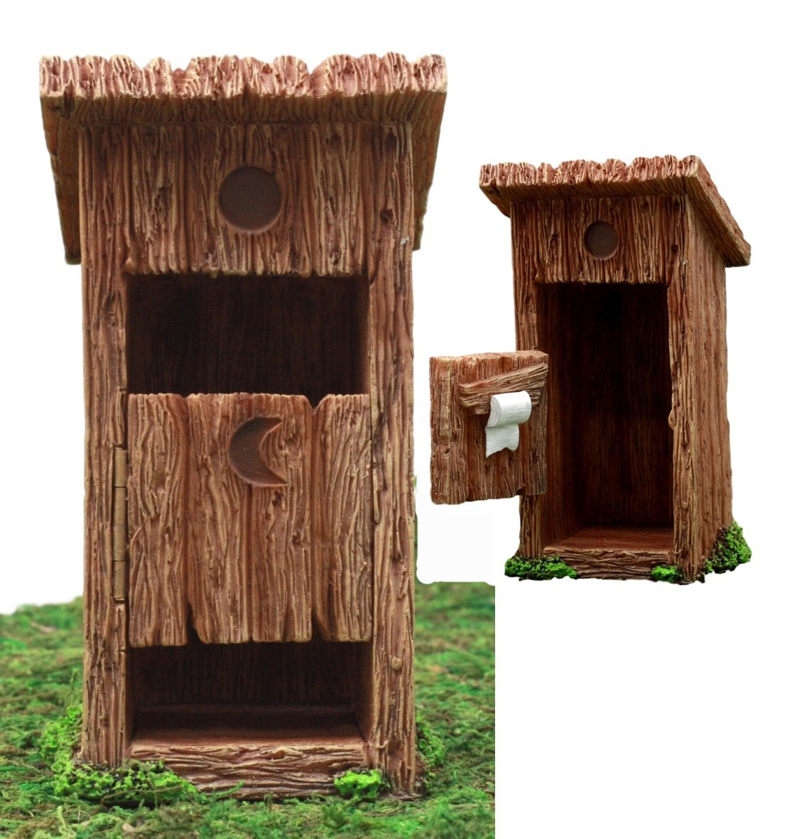 Atlantic Collectibles Enchanted Fairy Garden Miniature Colonial Rustic Toilet Outhouse With Hinged Door & Toilet Roll Setup Figurine Do It Yourself Ideas For Your Home
