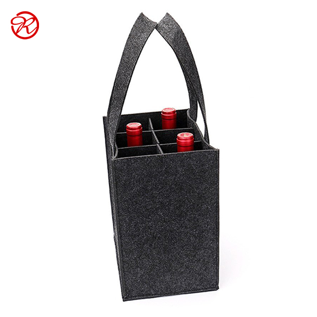 6 Bottle Felt Wine Carrier Tote Reusable Grocery Bags