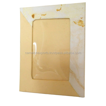 New design cream color handmade paper with marble print photo frame