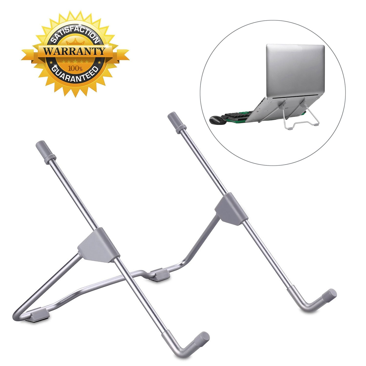 LURICO Adjustable Laptop Stand, Minimalist Portable Folding Aluminum Cooling Universal Laptop Stand for Laptop/iPad/Notebook, Light Weight, Foldable, Adjustable Height Width & Angle