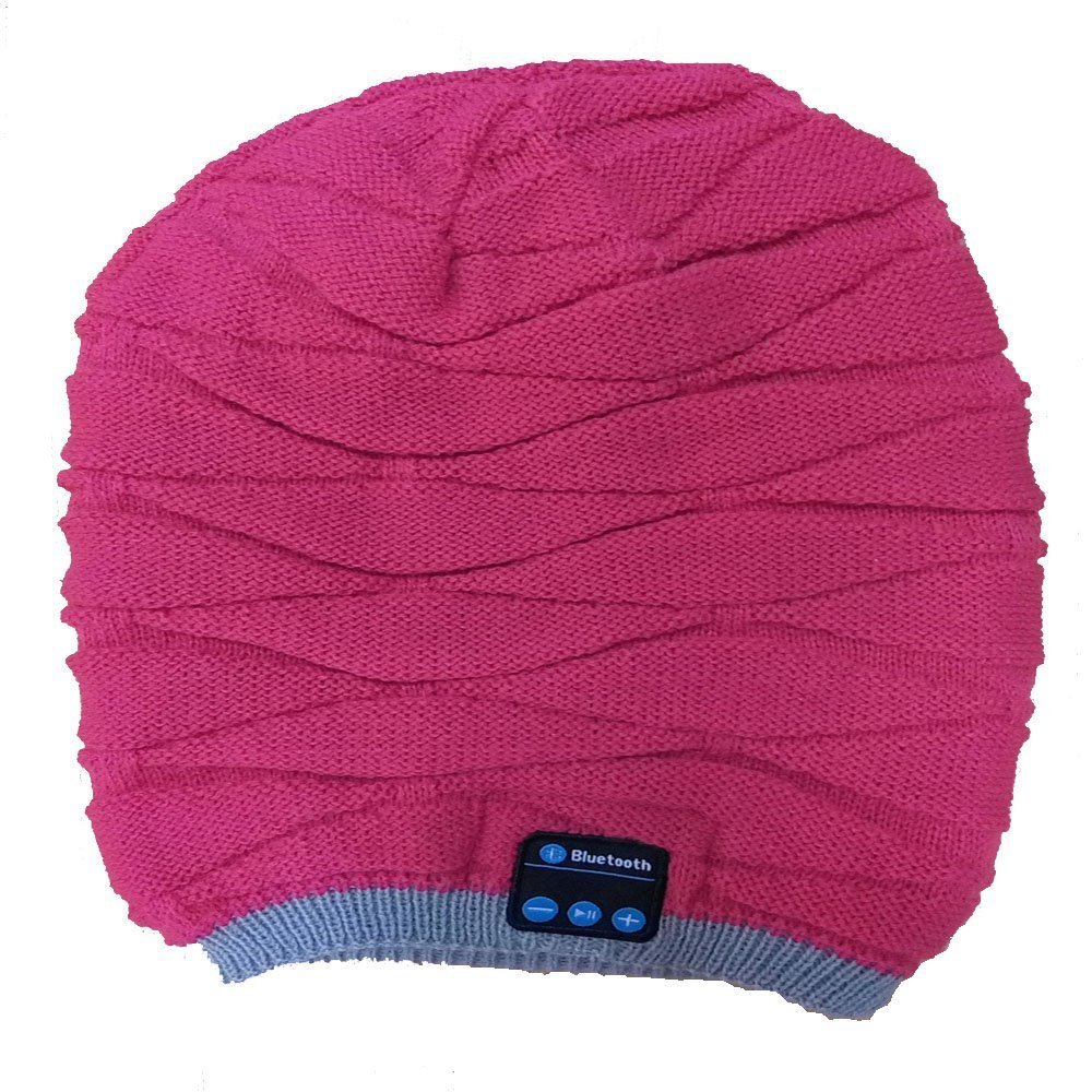 BearsFire® Bluetooth Beanie Knitted Bluetooth Music Magic Hat Winter Beanie Hat with Bluetooth Headphone Headset Earphone, Microphone, for Men Women Speaker Winter Outdoor Sport Best Gift (Pink)