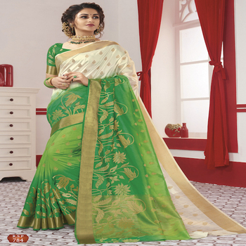 Latest Designer Silk Saree With Blouse Material