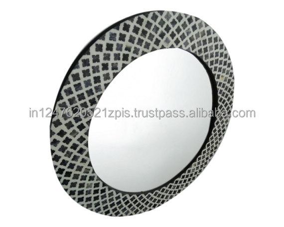 Bone Inlay Round Mirror Frame - Buy Indian Bone Inlay Mirror Frame ...
