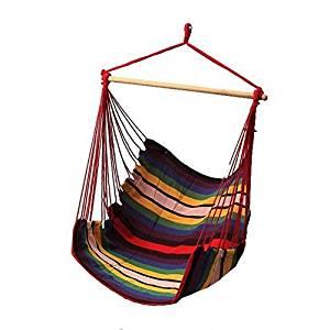 VAlink Hammock Rope Chair, Hammock Swing Chair, Hanging Rope Hammock Chair, Portable Porch Swing Seat,Hanging Chair for Indoor Outdoor Patio Lawn Garden Backyard Bedroom - 135 x 90 cm,Multi-color
