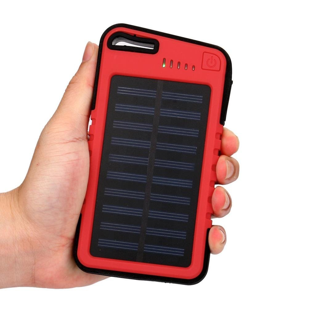 Solar Power Bank 20000 mah Dual-USB Outdoor Portable Waterproof High Capacity Battery Charger For IPhone and More Cell Phone (red)