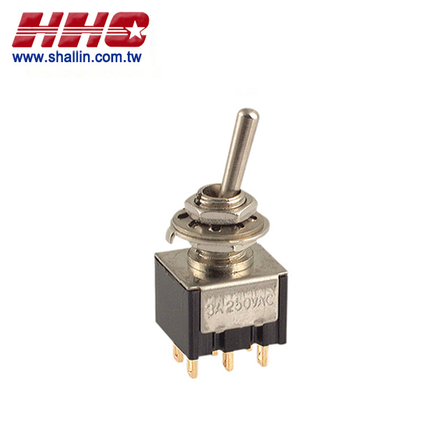 6Pin DPDT on - on gold - pin 120 V 5A (250 V 2A) mini toggle switch