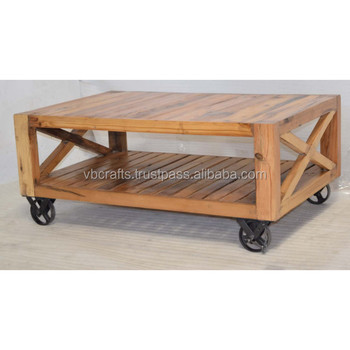 Solid Wooden Cast Iron Wheels Coffee Table