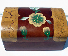 Small hand carved jewelry wood box with flowers design, wooden boxes wholesale