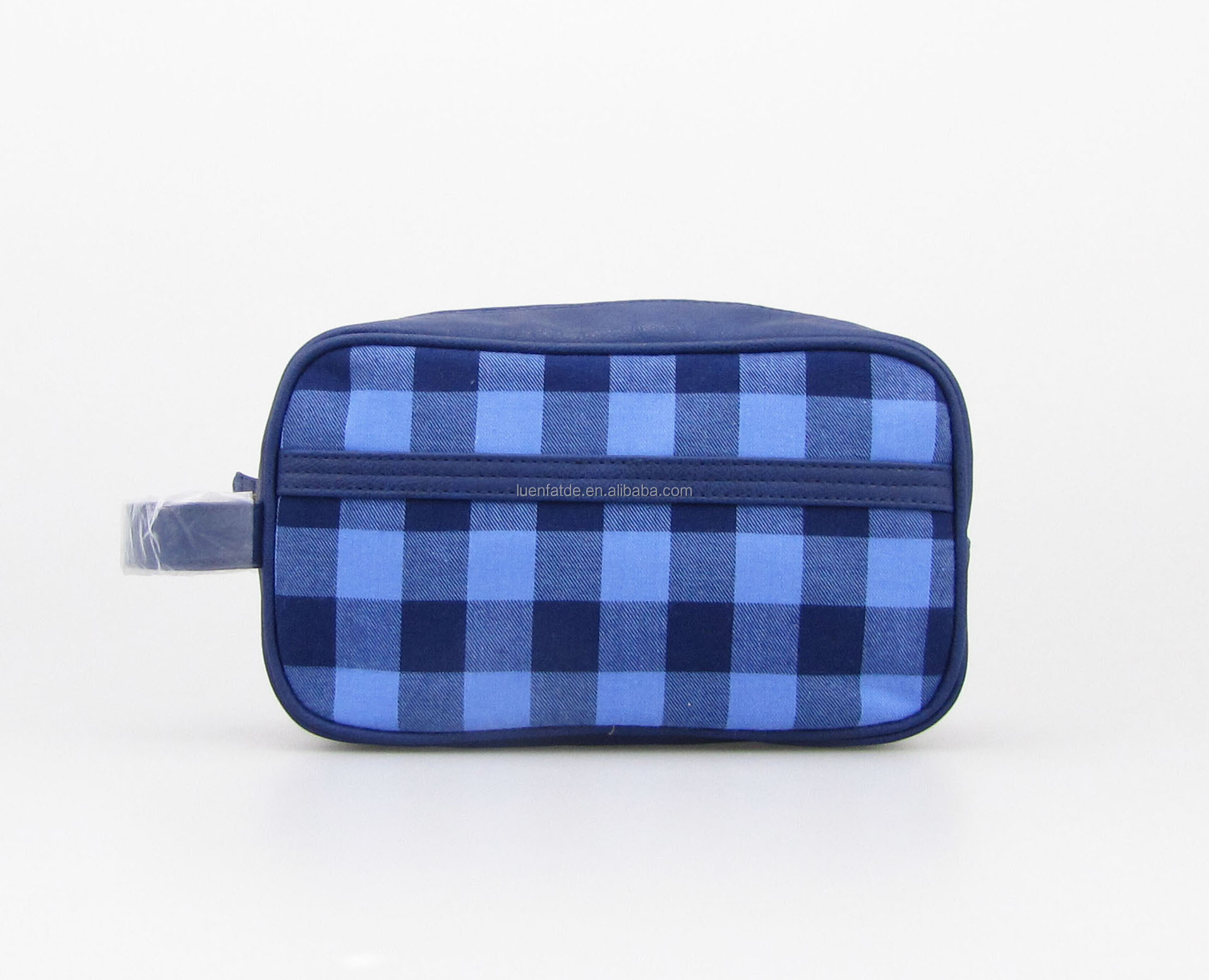 Checkered cotton Mens Cosmetic Bag Travel Makeup Bag