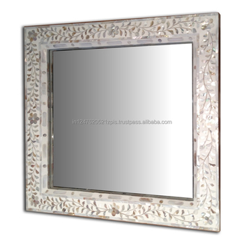 White Mother Of Pearl Square Mirror