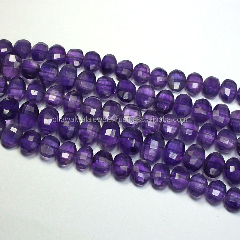 Natural Purple Amethyst Loose Semi Precious Step Cut Oval Shape Beads Strand