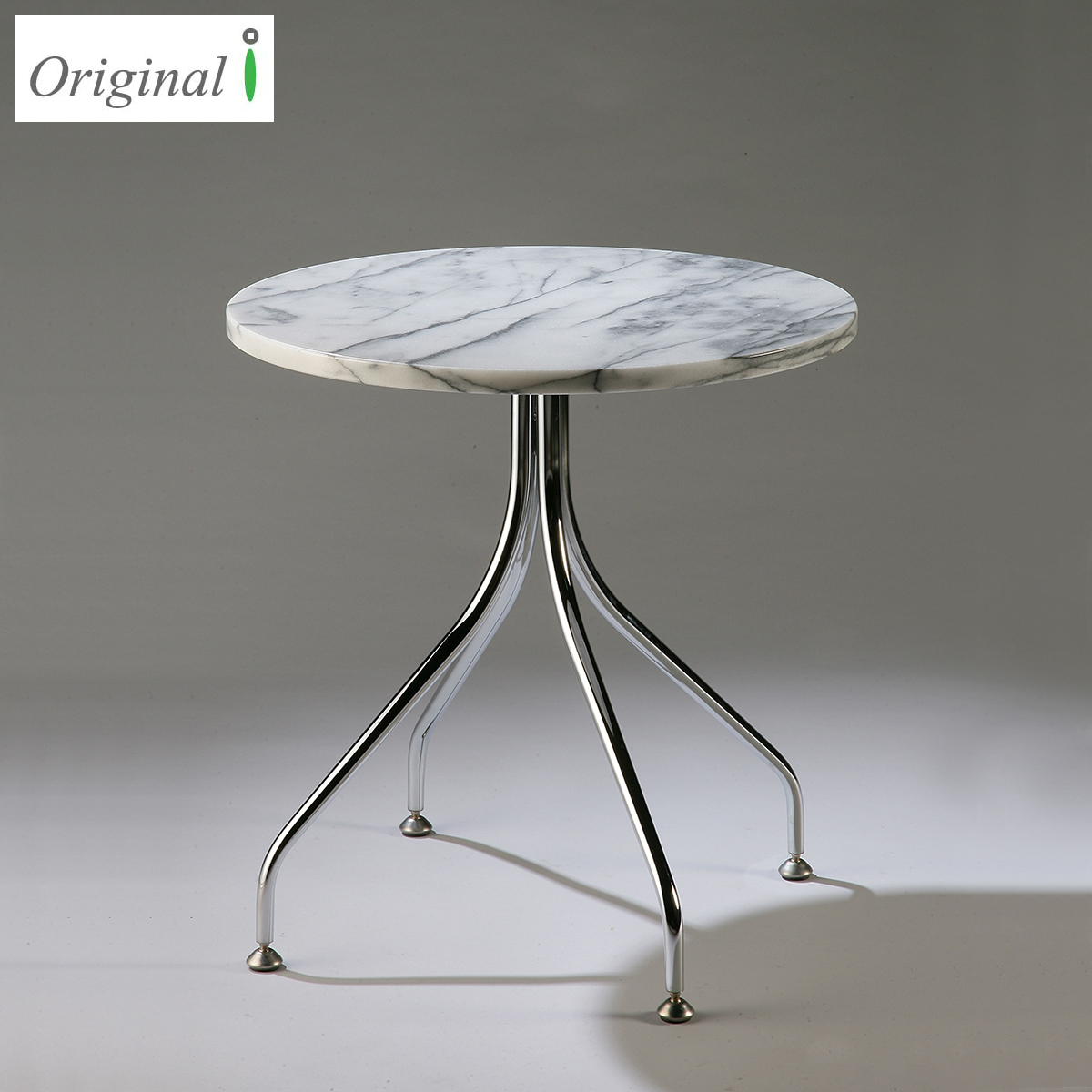 Round Marble Top Chromed Metal Legs Center Corner Sofa Table Coffee Table Side End Table