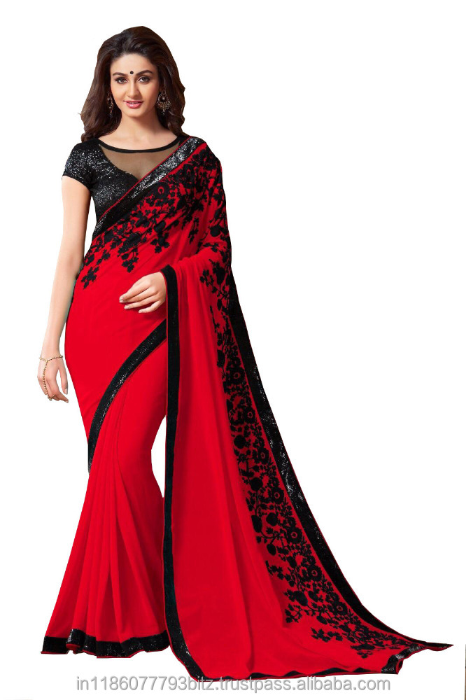 Exklusiver Designer Red Saree