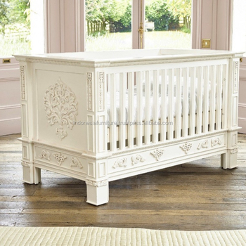 Rococo French White Hand Carved Cot Bed Nursery Furniture Bespoke Handmade Luxury Modern Beds Rocking