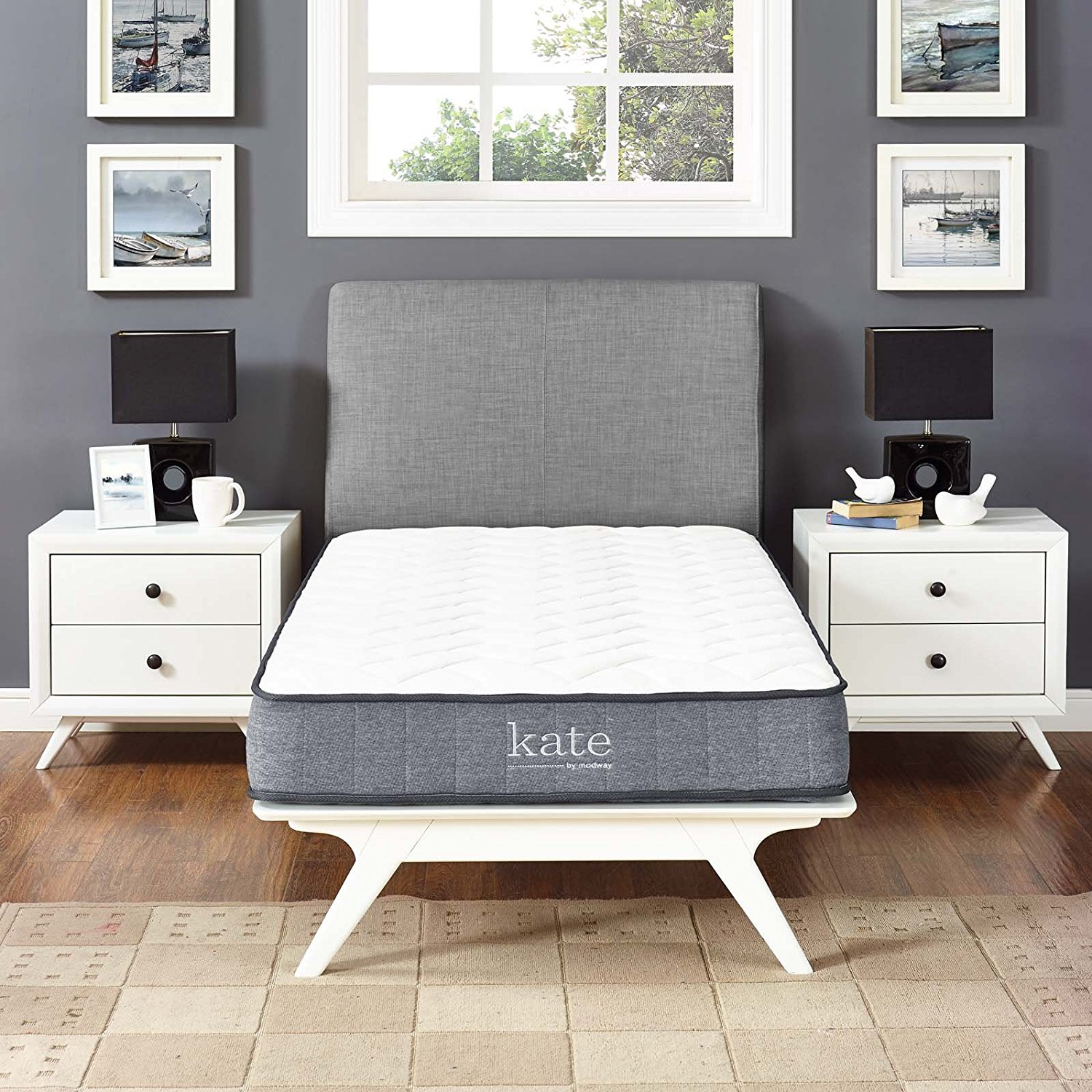 "Modway Kate 8"" Twin Innerspring Mattress - Firm Mattress For Child or Guest Room - Perfect For Bunk Bed - Loft Bed - 10-Year Warranty"