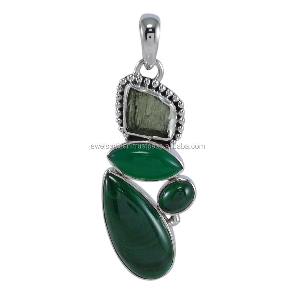 Lovely Malachite And Green Onyx With Moldavite Gemstone 925 Solid Silver Pendant