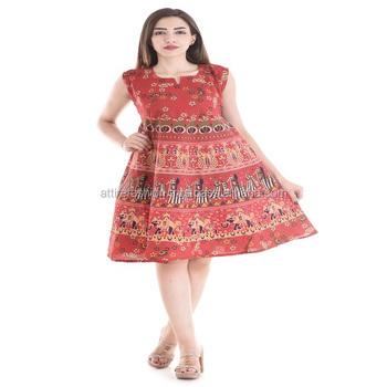 d91f2ff1e6 Attire Fashions Cotton Rajasthani Animal Print Short Dress - Buy ...