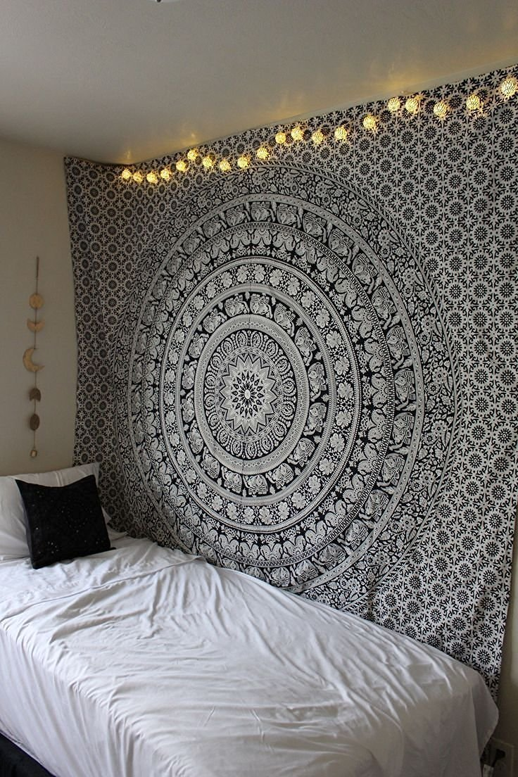 Marubhumi tapestry wall hangings Black and White Hippie Mandala Tapestry wall art Collage dorm Beach Throw Bohemian tapestry Wall decor Boho Bedspread, Twin (86 x 55 inch)