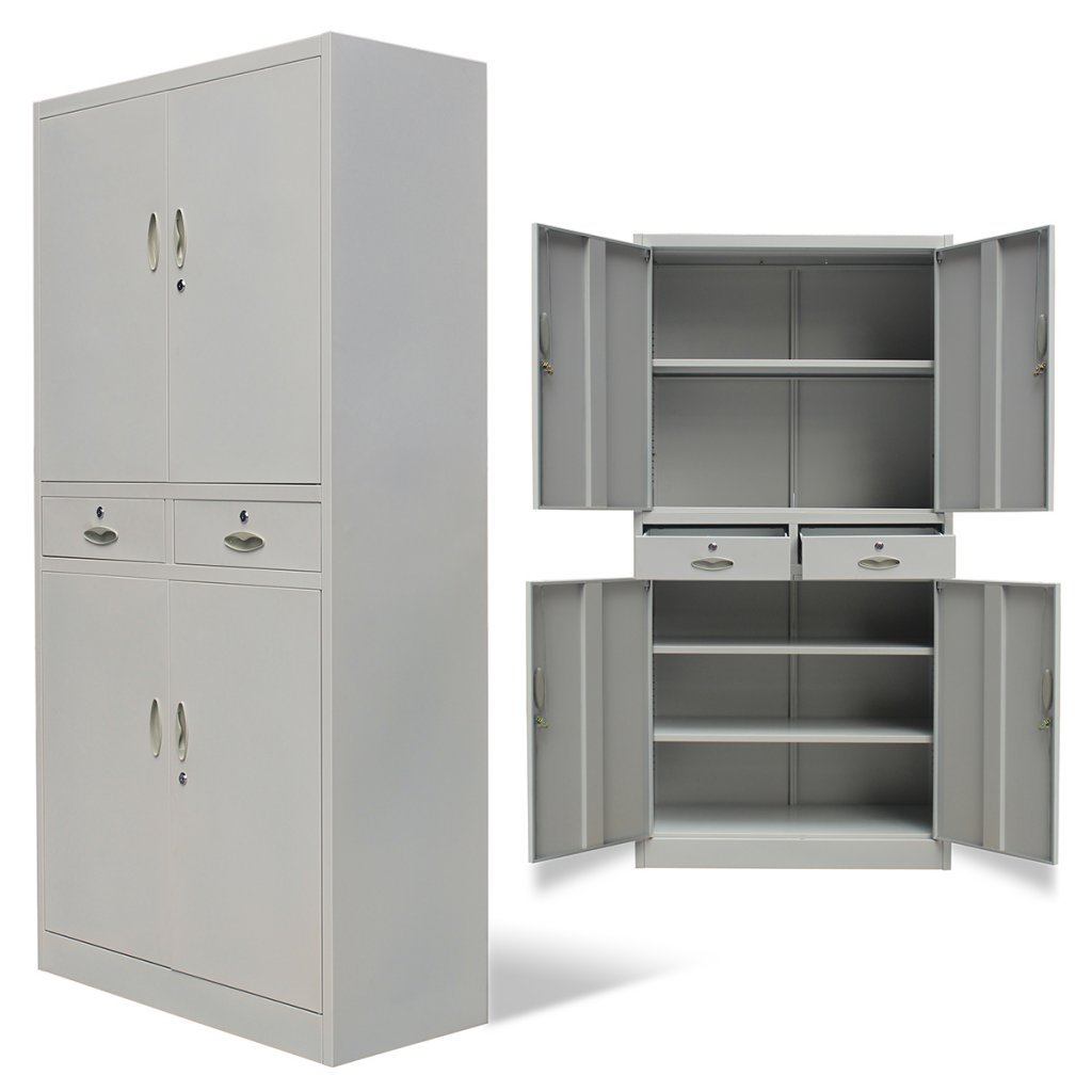 SKB Family Metal Office Cabinet 4 Doors 2 Drawers Gray Lateral Filing Steel