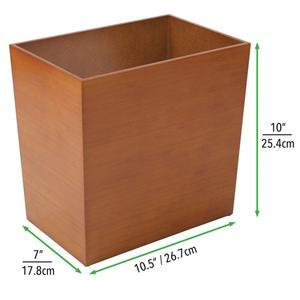 Rectangular Narrow Wood Trash Can Wastebasket Small Garbage Container Bin for Bathrooms, Kitchens, Home Offices, Craft Rooms