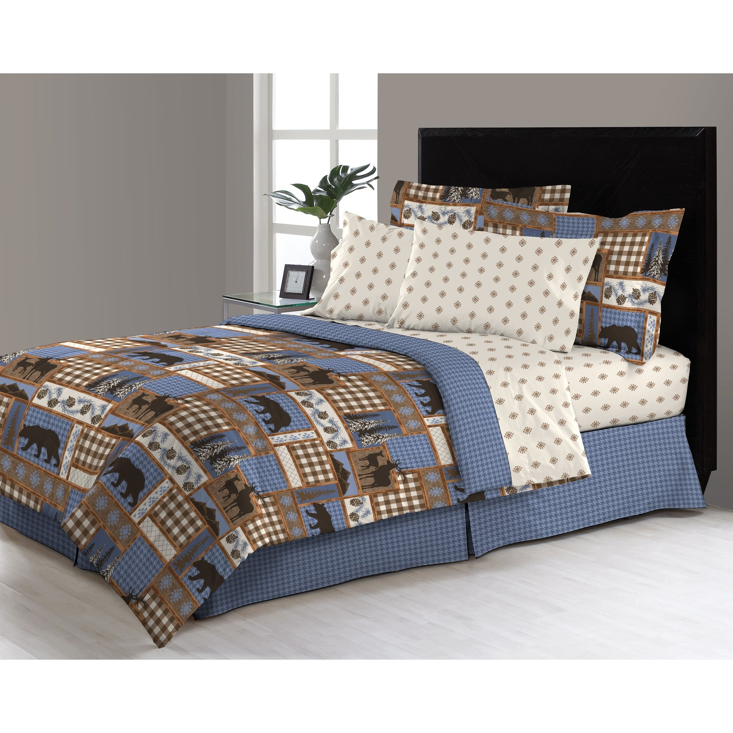 8 Piece Blue Tan Brown Hunting Themed Comforter Queen Set, Deer Bedding Moose Mountains Elk Pine Trees Comb Cabin Themed Lodge Plaid Lumberjack Pattern Wildlife Animals Woods Hunt Game, Microfiber