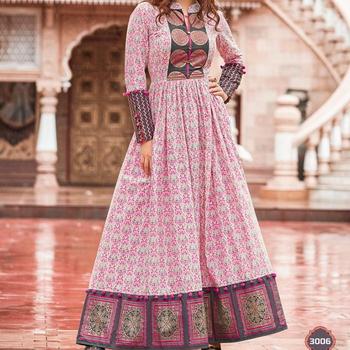 ee6bee4513 Festive Wear Designer Kurtis - Hand Block Printed Cotton Kurtis - Long  Cotton Maxi Dress -
