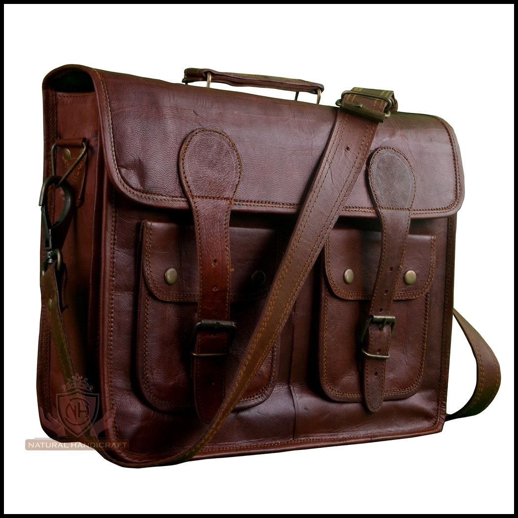 ced3e1e55afc87 Get Quotations · Laptop Messenger Office Bag Vintage Goat Leather Travel Office  Laptop Crossbody Shoulder Bag Office Bag College