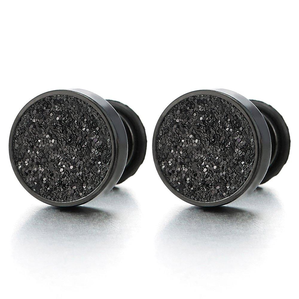 Pair Illusion Steel Pot Leaf Resin Earrings Faux Cheater Gauges Plugs 0G Look US