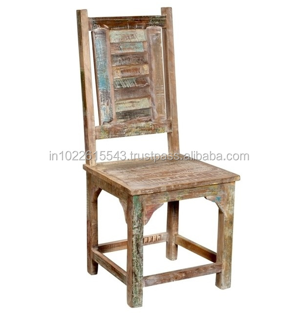 Reclaimed Old Wood High Back Dining Chair Industrial Distressed