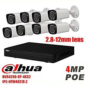 Dahua english 8CH NVR4208-8P-4K IP Camera Kit with DaHua IPC-HFW4431R-Z Motorized Lens 2.7-12mm POE 4MP IP Camera kit