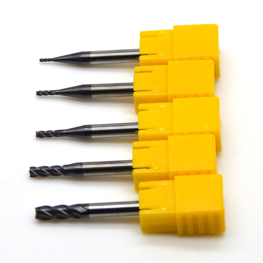 Ougar8 1 1.5 2 3 4mm 4 Flutes CNC End Milling Cutter HRC55 Tungsten Carbide Coated Square Flat End mill Endmills Spiral Tools TiAlN Micrograin solid carbide Router bits(5pcs/lot)