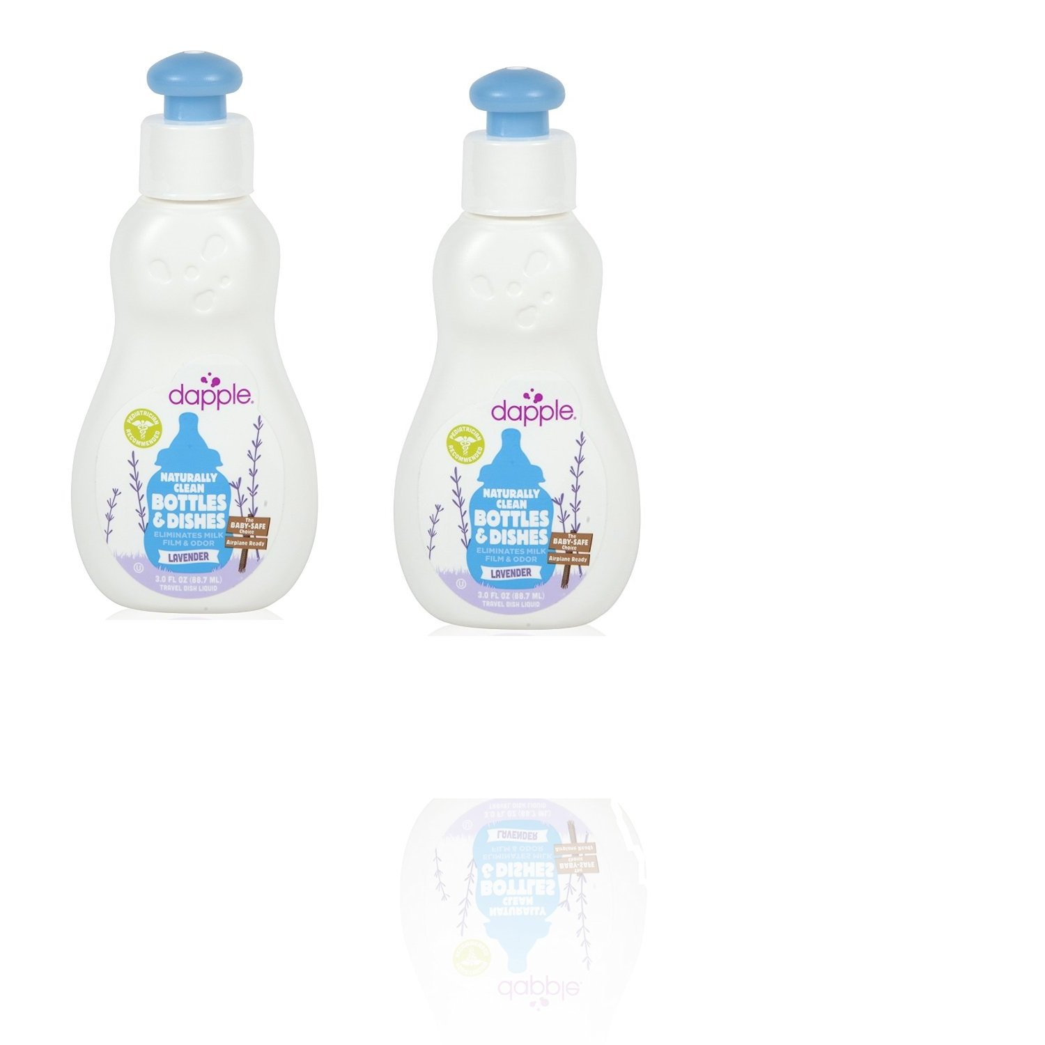 Dapple Baby Bottle and Dish Liquid, Lavender, Travel Size, 3 Fluid Ounce, 2 Pack
