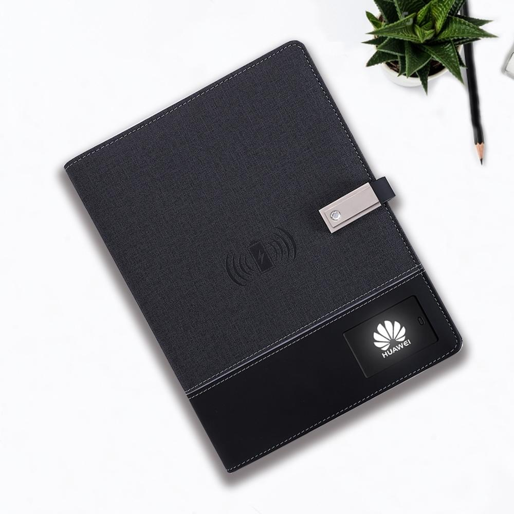 2020 Wholesale A5 Promotion Wireless PowerBank diary with 8GB USB Flash Drive LED Light Logo PU Leather Power bank Notebook