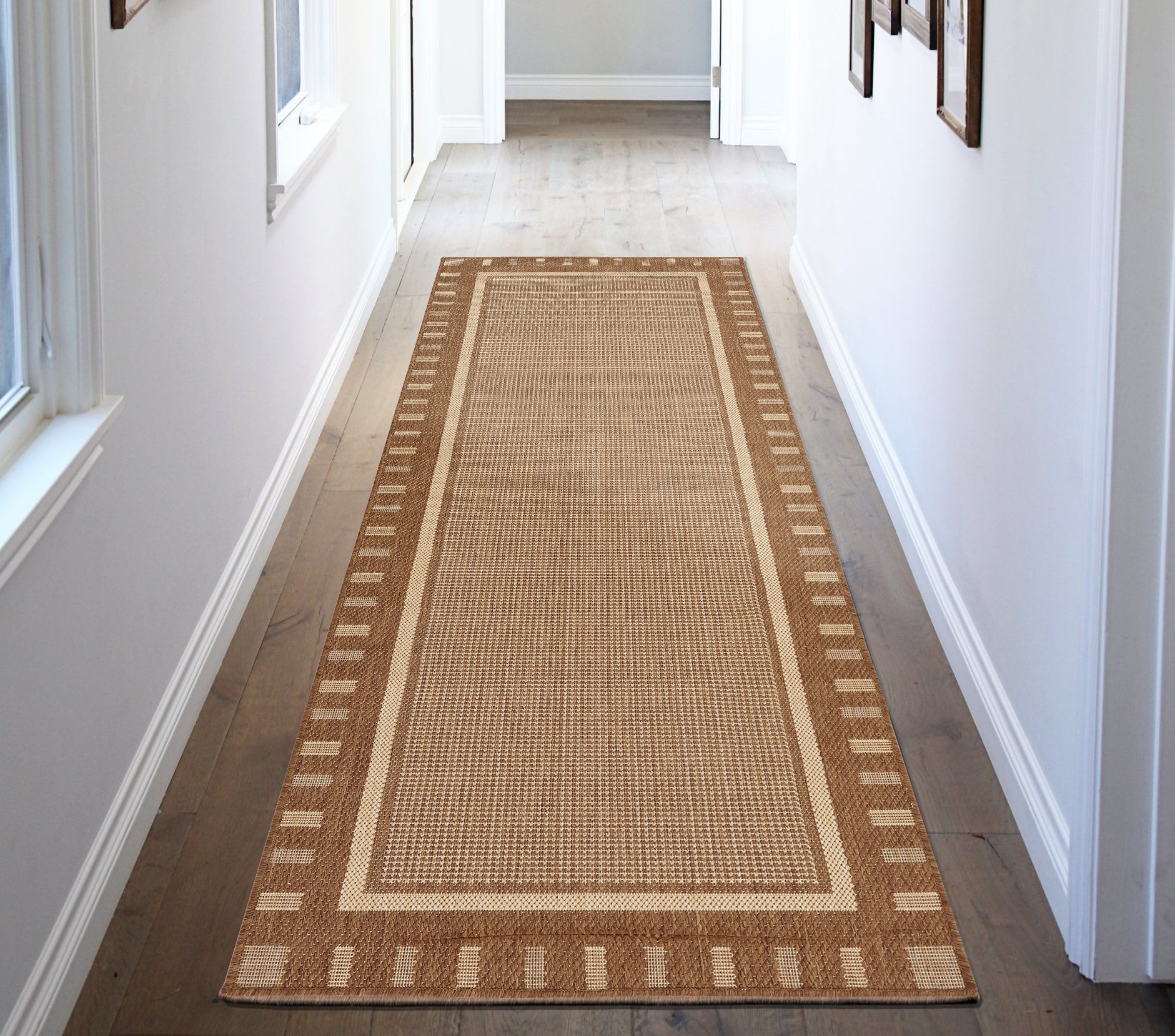 "Ottomanson JRD8838-3X7 Jardin Collection Contemporary Bordered Design Indoor/Outdoor Jute Backing Runner Rug, 2'7"" x 7'0"", Brown"