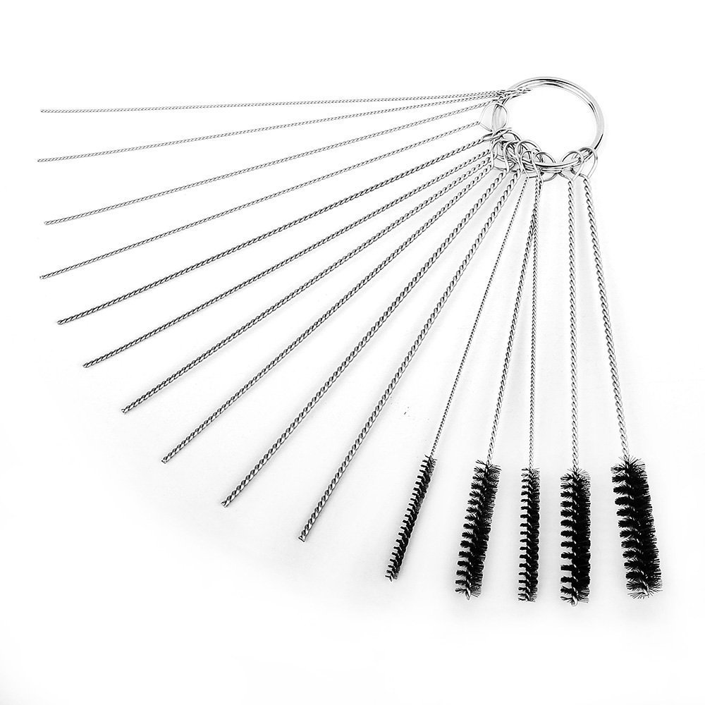 HIFROM 4 Inch Nylon Tube Brush Cleaning Set Carburetor Carbon Dirt Jet Remove Cleaner Tool Kit 10 Cleaning Needles + 5 Brushes Tool with Wire Loop Handle