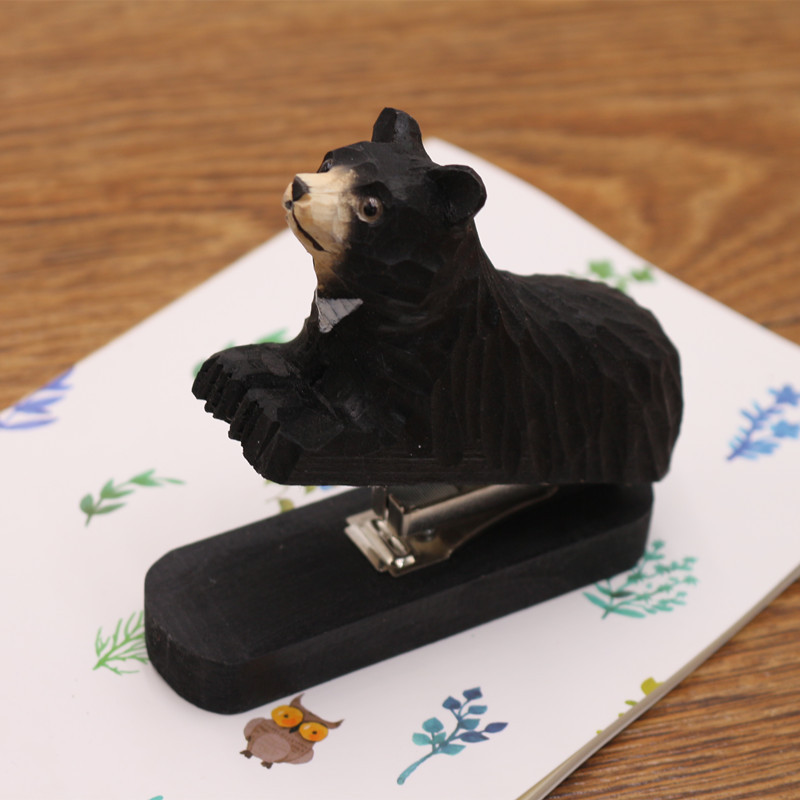 Handmade carved Mini Wooden Craft Multi Animal shaped Wooden Stapler