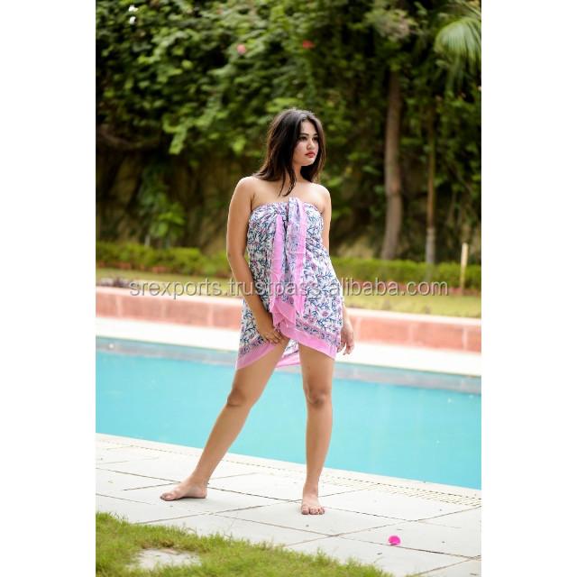 Sarong Wrap Skirt Beachwear Swim Cover Dress Zig Zag Dots Print Scarf Rayon